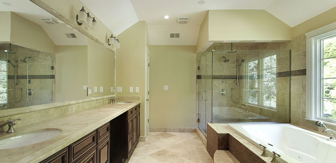 Bathroom, mirror and shower